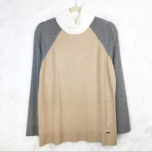 NWT Calvin Klein Cowl Color Blocked Sweater L